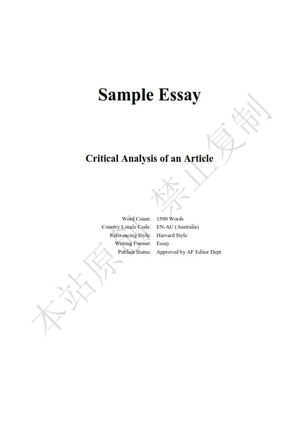 澳洲人力资源管理论文代写样本全文- Page 1 of 9