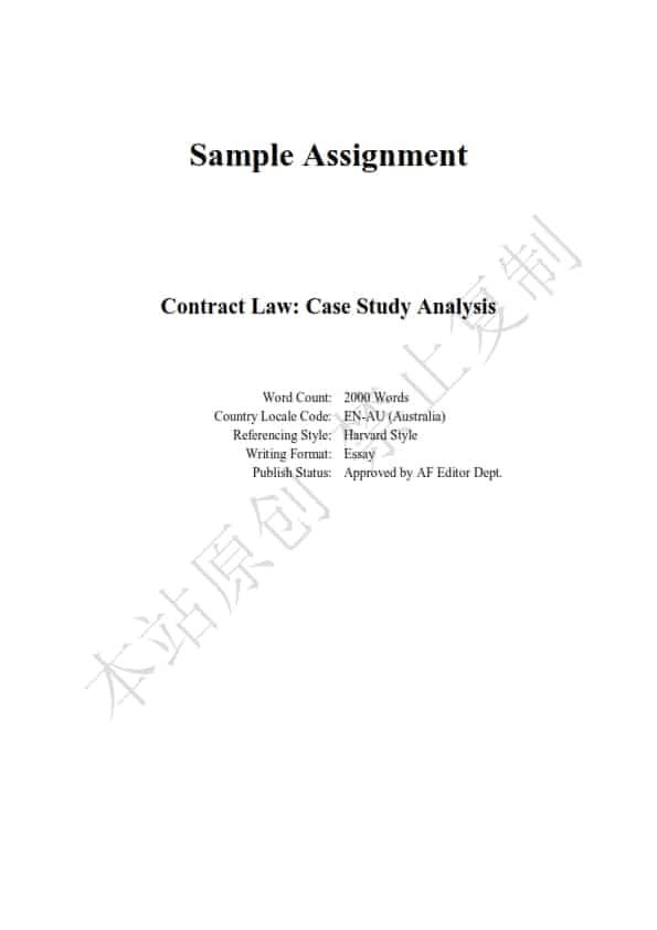 澳洲法律论文代写样本全文- Page 1 of 9